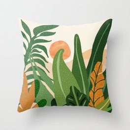 Desert Garden Sunset Throw Pillow