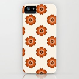 Retro floral flowers pattern minimal 70s style pattern print 1970's iPhone Case