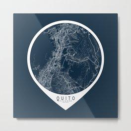 Quito City Map of Ecuador - Circle Metal Print