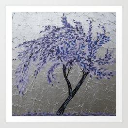 Purple Windswept Tree Art Print