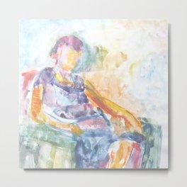 Woman in an armchair 1 watercolor Metal Print