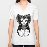 demon V-neck T-shirts featuring Demon by Leah Jade