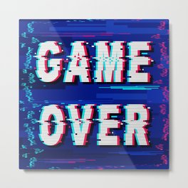 Game Over Glitch Text Distorted Metal Print