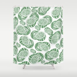 Hand drawn forest green white abstract watermelon Shower Curtain