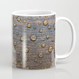 Water Drops on Wood 6 Coffee Mug