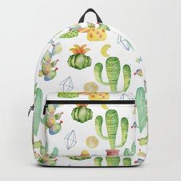 Modern green yellow geometric watercolor cactus pattern Backpack