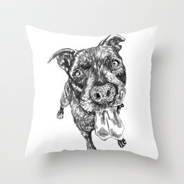 Rocky the pit bull and his amazing tongue Throw Pillow