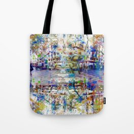 On a platform, ample boon, well-aware weary ahead. Tote Bag