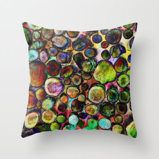 Colored Wood Pile 2 Throw Pillow