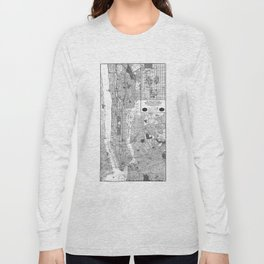 Vintage Map of New York City (1918) BW Long Sleeve T-shirt