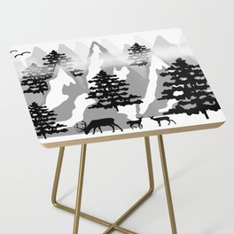 Woodland Rustic Deer Winter Mountain Forest Trees Side Table