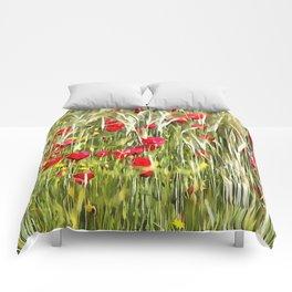 Red Corn Poppies Comforters
