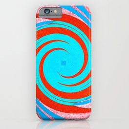 Colorful red and blue spiral swirling elliptical constellation star galaxy abstract design iPhone Case