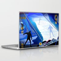 skiing Laptop & iPad Skins featuring Cross Country Skiing by Robin Curtiss