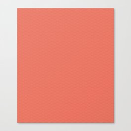 Pantone Living Coral Multi Striped Tiny Scallop Wave Pattern Canvas Print