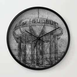 The Sudbury Water Tower B&W Wall Clock