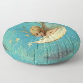 Vintage-Shabby-chic- Beautiful Christmas angel on aqua background Floor Pillow