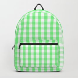 Apple Green Gingham Check Plaid Backpack
