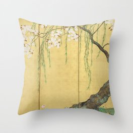 Cherry, Maple and Budding Willow Tree Throw Pillow