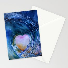 Watercolor Wave Heart Stationery Cards