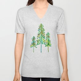 Pine Trees – Green Palette Unisex V-Neck