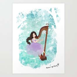 Harp girl 6: Music from the forest Art Print