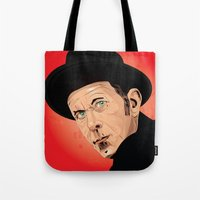 tom waits Tote Bags featuring Tom Waits by Brian Madden