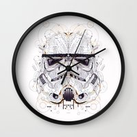 stormtrooper Wall Clocks featuring stormtrooper by yoaz