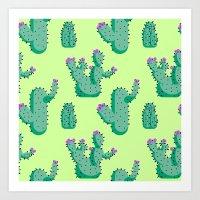 Cactus Floral Pattern Art Print