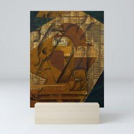 """Juan Gris """"Bottle of Rum and Newspaper"""" Mini Art Print"""