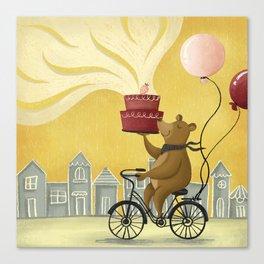 Bear on a Bike Illustration Canvas Print