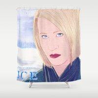 karen Shower Curtains featuring ICE Poster (Karen) by CharlieAmber