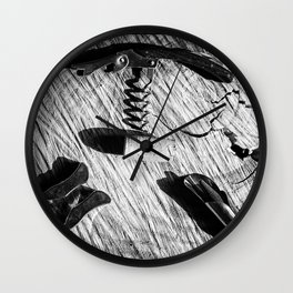 Black and white corkscrew Wall Clock