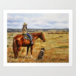 Young Cowgirl on Cattle Horse Art Print