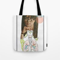 lungs Tote Bags featuring lungs by Cassidy Rae Marietta