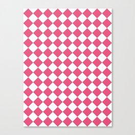 Diamonds - White and Dark Pink Canvas Print