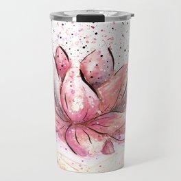 Lotus Flower Watercolor Art Travel Mug
