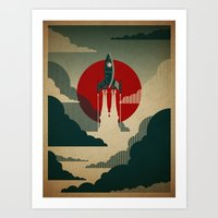 vintage map Art Prints featuring The Voyage by Danny Haas
