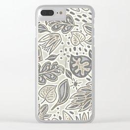 Linocut Neutral Nature Clear iPhone Case