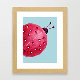 Spherical Abstract Watercolor Ladybug Framed Art Print