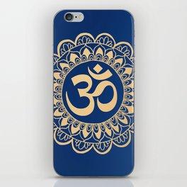 Blue and Gold Ohm Mandala iPhone Skin