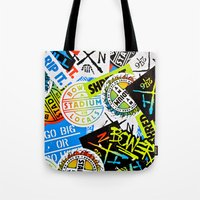 sticker Tote Bags featuring Sticker Collage by Chris Klemens