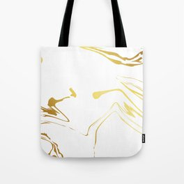 Gold and white abstract swirls Tote Bag