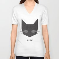 minimalist V-neck T-shirts featuring MEOW by Wesley Bird