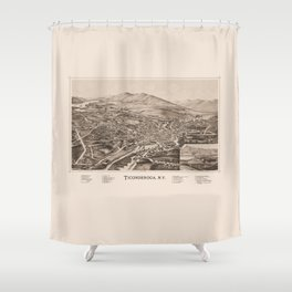 Ticonderoga Map 1891  (sepia) Shower Curtain
