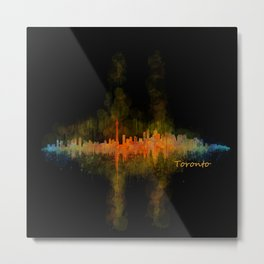 Toronto Canada City Skyline Hq v02 dark Metal Print