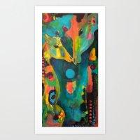 giraffes Art Prints featuring Giraffes by Silke Powers