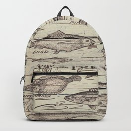 father's day fisherman gifts whitewashed wood lakehouse freshwater fish Backpack