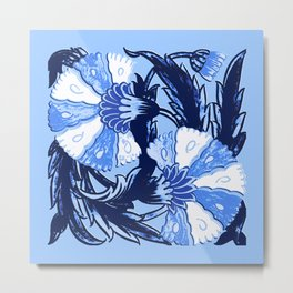 William Morris Jacobean, Navy and Light Blue Metal Print