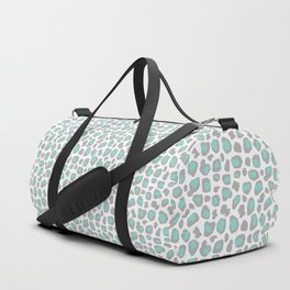 Leopard Animal Print Aqua Blue Gray Grey Spots Duffle Bag